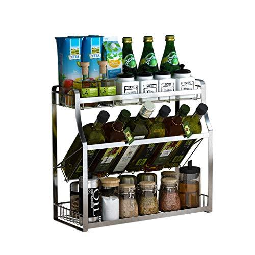 Besteckhalter & -ständer Wandregale Küche Standregale Edelstahlregale Gewürzregale (Color : Silver, Size : 30 * 18 * 40cm)