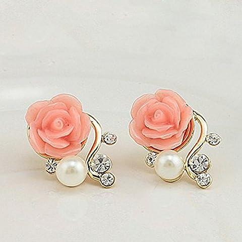 EQLEF® Un orecchio Coppia Sweet Girl Rose strass goccia della perla Orecchino