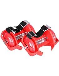 Flashing Roller - Ruedas para los zapatos (peso máximo: 90 kg, con luces), color rojo