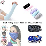 Iriesure 4PCS Arm Sleeves With Thumb Holes + 2PCS Riding Mask, 4PCS Random Colors Sunproof Anti-UV Driving Outdoor Arm Sleeves and 1PCS Stripe Black Magic Scarf and 1PCS Blue Grey Outdoor Face Mask