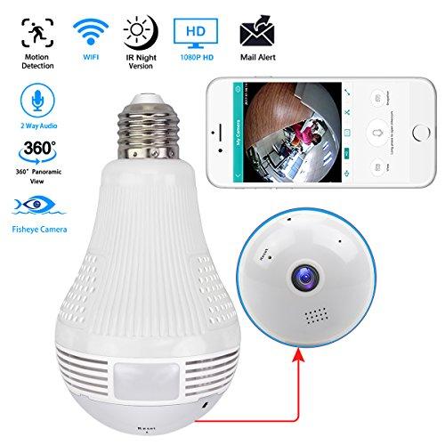 Easy tech 1080p telecamera ip lampadina - telecamera fisheye wireless grandangolare 360 per la sicurezza domestica