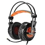 [Das beste Geschenk für Ihren Freund] EasySMX S3 Stereo Gaming Headset für PS4 / PC / Laptop / Tablet / Smartphone mit Aufhängung Stirnband Omnidirectional faltbar Mikrofon Bass Vibration Control LED-Beleuchtung