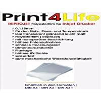 50 sheets A3 0,125mm coated, clear transparent, glossy, slightly matt Inkjet - polyester film (ReproJet) with nanoporous coating for higher ink absorption and fast drying time with dimensional stability, flatness, higher UV-density, water-resistant and good mechanical resistance