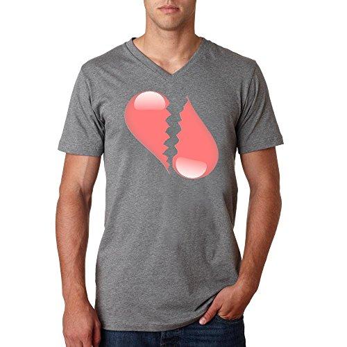 Broken heart logo Herren baumvolle V-neck t-shirt Grau
