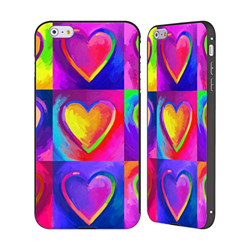 Ufficiale Howie Green Pop Art Cuori Nero Cover Contorno con Bumper in Alluminio per Apple iPhone 6 Plus / 6s Plus Pop Art 2