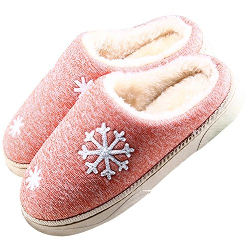 Minetom Unisex Damen Herren Schneeflocken Plüsch Hausschuhe Winter Wärme Weiche Baumwolle Pantoffeln Home Rutschfeste Wärmehausschuhe A-Orange EU 38-39
