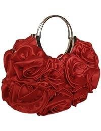 Fashion Handtasche m.Blütenapplikation,27x16 cm,Rot
