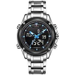 NAVIFORCE Brand Sport Full Steel Analogue Digital LED Army Military Wrist Watch (Silver/Blue)
