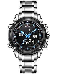 Naviforce Reloj deportivo hecho de acero, para hombre, con LED, digital, estilo militar - plata/negro