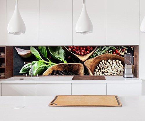 Aufkleber Küchenrückwand Kräuter Gewürze Pfeffer Chili Folie selbstklebend Dekofolie Fliesen Möbelfolie Spritzschutz 22A679, Höhe x Länge:70cm x 100cm