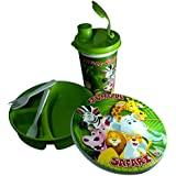 ISRE Plastic Lunch Box, Sipper Bottle, Spoon And Fork. School Lunch Gift Set - Green