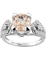 Revoni 14ct oro colgantes Natural anillo redondo 7 mm acentos de diamante