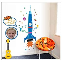 BRILLINT.YY Wall Stickers Rocket Height For Kids Room Growth Chart Height Measure For Children Removable Pvc Wall Decals 50X160Cm