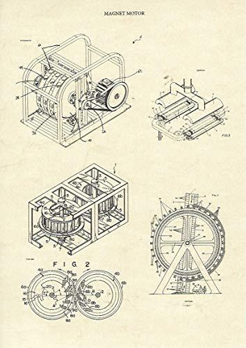 (Christian Stolz Magnetmotor, Freie Energie Patente Kunstdruck Din A4 zur Deko in Büro, Schlafzimmer, Dekoration Wohnung modern oder als Geschenk Bild Poster)
