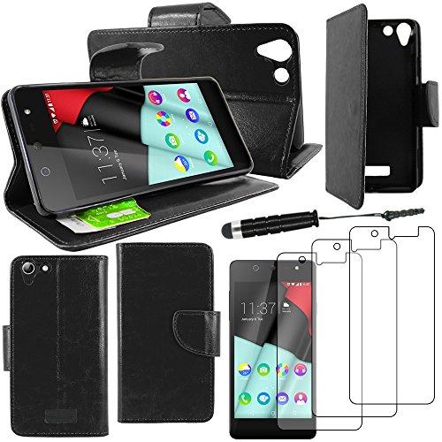 ebestStar - Wiko Selfy 4G Hülle Kunstleder Wallet Case Handyhülle [PU Leder], Kartenfächern, Standfunktion + Mini Stift +3 Schutzfolies, Schwarz [: 141 x 68.4 x 7.7mm, 4.8'']