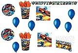 Cdc -kit n°20 festa e party Blaze–Le mega macchine - (40 piatti, 40 bicchieri, 40 tovaglioli,1 tovaglia, 1 Ghirlanda Festone,100 Palloncini)