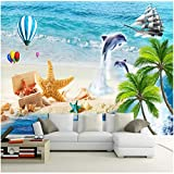 Papier Peint Mural Personnalisé 3D Stickers Photo Mural Palm Island murale plage étoile de mer