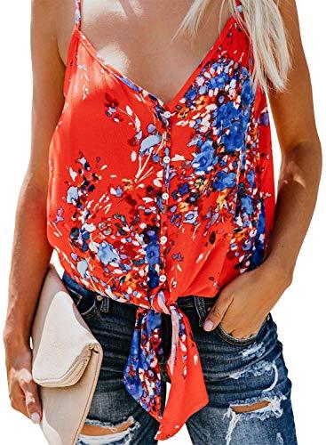 KOKOUK Womens Summer Sleeveless V-Neck Blouse Casual Adjustable Spaghetti Straps Vest Tank Tops S-XXL - Sheer Jersey Long Sleeve Tee
