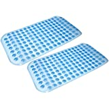 Ability Superstore blanco y azul - anti-deslizante para mangos juego de 2 alfombrilla para la ducha