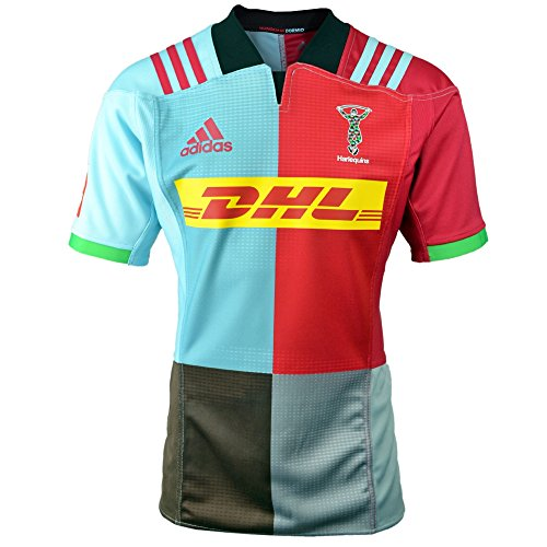 b6512e2d88a adidas Harlequins 2017/18 Home S/S Replica Rugby Shirt – Red Beauty/Frost  Blue/Light Grey/Brown – Size S