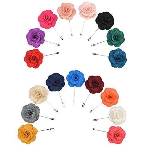 Soleebee YM007 Ansteckblumen Gemischt zufällig Herren Klassisch Handgefertigt Revers Pin Blume Set im Knopfloch Schläger Revers Krawatte Brosche Kamelie Boutonniere für Anzug (zufällig 15 Stück)