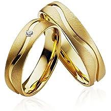 Verlobungsringe Eheringe Trauringe Partnerringe 2 Ringe Gold Plattiert P903 *mit Gravur und Stein*