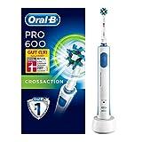 Oral-B Pro 600 Elektrische Zahnbürste, mit Timer und CrossAction Aufsteckbürste, weiß -