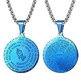 FaithHeart Blau Kette Männer Medallion Anhänger mit Heilige Bibel Rund Kettenanhänger Schmuck Halskette