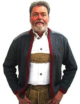 Spieth & Wensky Herren Trachten Strickjacke Netzbach grau-rot