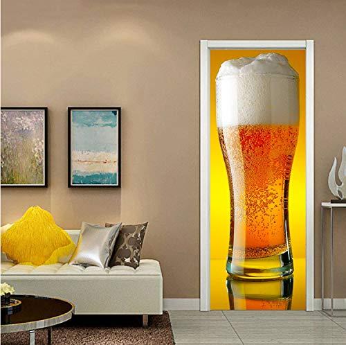 Xiaodan's shop Türaufkleber 3D Riesen Bierkrug wasserdichte Tür Poster Abnehmbare Wohnzimmer Schlafzimmer Hause Dekorative Wandbild 90X200 cm -
