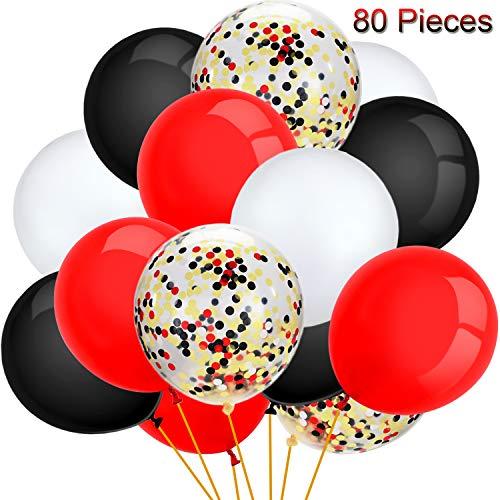 80 Stücke Halloween Luftballons Set Konfetti Luftballons Latex Luftballons für Geburtstag Baby Duschen Hochzeit Abschluss 4. Juli Dekorationen, 12 Zoll (Rot, Schwarz, Weiß)