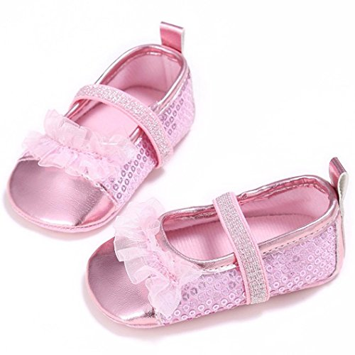 Babyschuhe Longra Baby Kleinkind Kinder Mädchen weichen Sohle Krippe Kleinkind Neugeborenes Schuhe Lauflernschuhe(0 ~ 18 Monate) Pink
