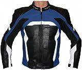 German Wear Leder Motorradjacke aus RindsGerman Wear Leder Kombijacke, Schwarz/Blau/Weiss, M