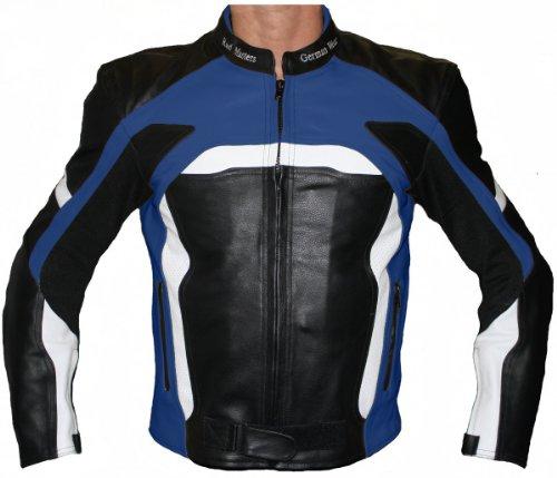 German Wear Motorradjacke Lederjacke Biker lederjacke 4x Farbauswahl, Frabe:Dunkelblau;Größe:XS Leder-biker-wear