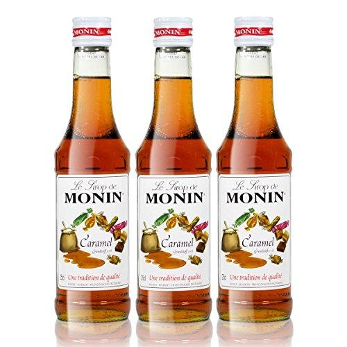 3x Monin Karamell / Caramel Sirup, 250 ml Flasche