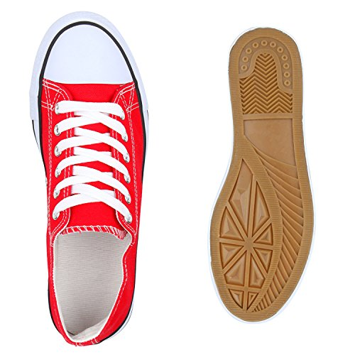 Damen Sneakers Low-Top Basic Turnschuhe Freizeit Schuhe Rot