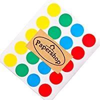 Papershop Coloured Dot Stickers (x60) - 2cm Red, Blue, Green,Yellow - Multi-Coloured Circle/Round Stickers