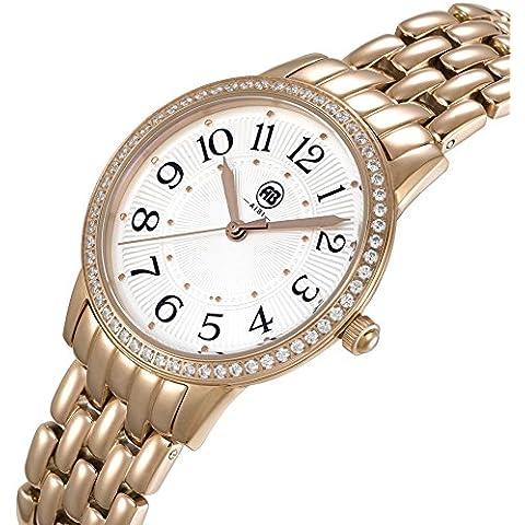 AIBI impermeable señoras reloj de pulsera de cuarzo de lujo de acero inoxidable de oro rosa collares para las mujeres 3ATM