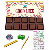 BOGATCHI Good Luck Chocolate Gift for Exams, 10pcs Dark Chocolate + Free Good Luck Card + Exam Kit for Kids