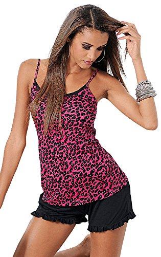 Melrose Damen Shorty Träger Pyjama kurz ärmellos Pink