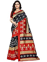 Jaanvi Fashion Women's Art Silk Ikkat Patola Print Saree (Black)
