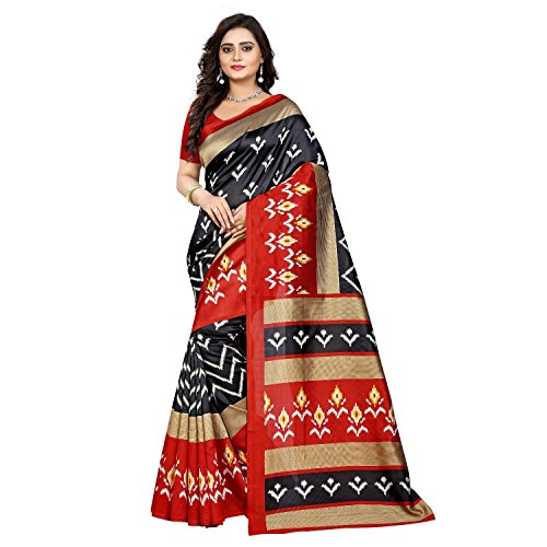 Jaanvi Fashion Women's Art Silk Ikkat Patola Print Saree (Black)