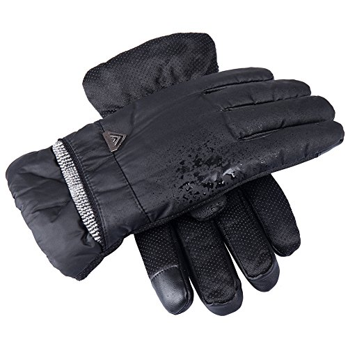 GLOUE Herren Handschuhe Warme Handschuhe Winter Outdoor-Sport Wasserdicht Winddicht Touchscreen Winterfest Rutschfest Abriebfest Fahrrad Motorrad Skilaufen Schwarz - 2