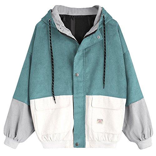 Damen Mantel, Lonshell Cord Farbe Patchwork Windbreaker Oversize Jacke Frühling Mantel (L, Blau)