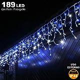 Bakaji Lighting Tenda Cascata Luminosa 510 x 90 cm Prolungabile Fino a 15 MT 189 LED con FLASH, Luci per Esterno Catena Natalizia IP44 (Blu)
