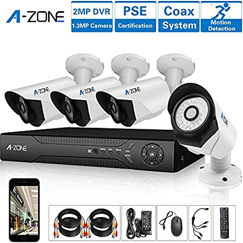 A-ZONE Kit Videosorveglianza 4 Canali 1080P AHD DVR 4x 1.3MP Telecamere di Sorveglianza da Esterno senza Disco Rigido da 2 TB