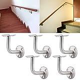 KING DO WAY Kit De 5 Pcs Inox Support Mural Pour Rampe Escalier Soutien Main Courante Bricolage Handrail Bracket 60mmX60mm...