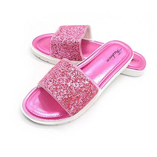 Dihope Femmes Sandales Plates Tongs Flip-Flop Chaussures de Plage pour Vacances Piscine Fuchsia