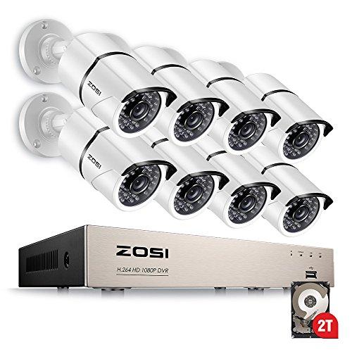 ZOSI-1080P-Sistema-de-Seguridad-8CH-8-Cmaras-Bala-HD-CCTV-Kit-de-Vigilancia-Blanco-para-Hogar-2-TB-Disco-Duro