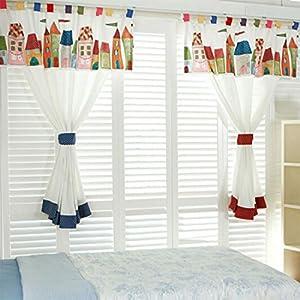 GWELL Kinderzimmer Gardinen Vorhang Schlaufenschal Dekoschal für Wohnzimmer Schlafzimmer 1er-Pack 220x130cm(HxB) blau